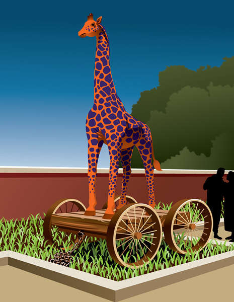 """Giraffe"" Pull Toy #2 - Design Illustration"